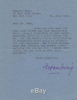 Stefan Zweig Letter Typed Written To Mr Ewen. Exiled In 1940. Autograph