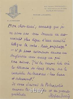 Stefan Zweig Signed Autograph Letter. One Of His Last Letters Brazil 1941