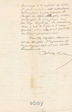 Sully Prudhomme Autograph Letter Signed To Leon Barracand The Enraged