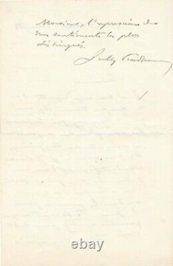 Sully Prudhomme Autograph Letter Signed Tribute To Rousseau