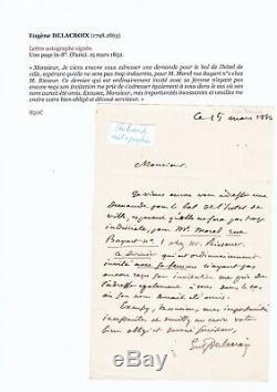 Superb Autograph Letter Signed Painter Eugène Delacroix Dedication Signed In 1852