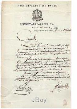 Tallien / Signed Letter (1792) / Paris Commune / Revolution / Robespierre