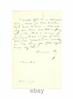 Victor Hugo Autograph Letter Signed To A Poet About A Book