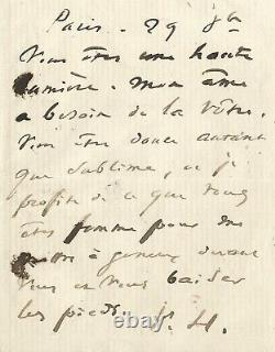 Victor Hugo Autograph Letter Signed To George Sand. You Are A High Light