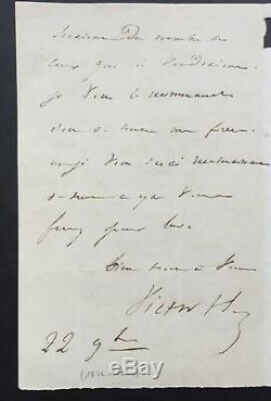 Victor Hugo Rare Autograph Letter Signed In His Publisher Renduel 2 Pages