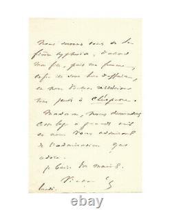 Victor Hugo / Signed Autograph Letter / Theatre / Cleopatra / Invitation