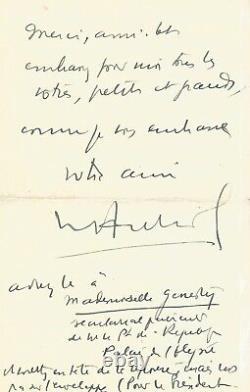 Vincent Auriol Signed Autograph Letter With Original Drawing