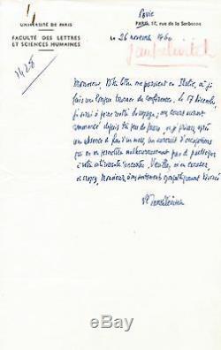 Vladimir Jankelevitch Autograph Letter Signed. 1960