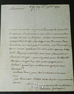 Voltaire Autograph Letter Signed Rare 1771