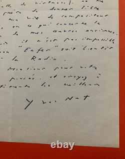 Yves Nat Autograph Letter Signed
