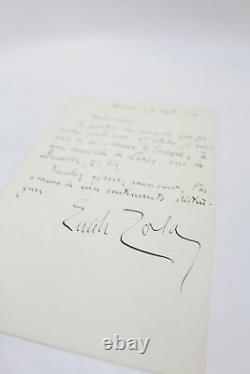 Zola Autograph Letter Signed And Addressed From Médan E. O Autographe 1896