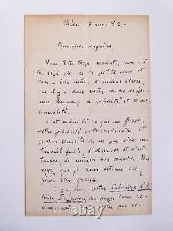Zola (emile) Autographed Letter Signed By Emile Zola To Lucien Descaves 1882