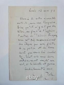Zola (emile) Signed Autograph Letter From Emile Zola On Thérèse Raquin 18