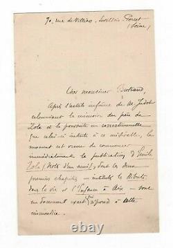 (dreyfus Affair / Émile Zola) / Signed Letter Of Paul Alexis / Slander