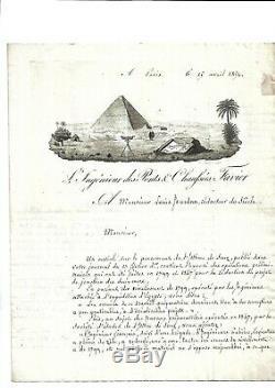 1852. Egypte. Paris. Favier. Ingénieur. Canal de Suez. Lettre autographe signée+