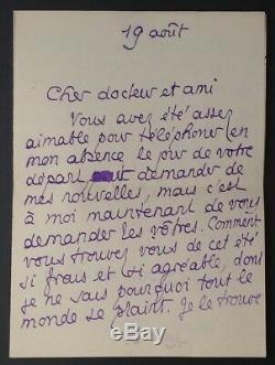 1912 PIERRE LOUS lettre autographe signée à MAURICE DE FLEURY + 3 enveloppes
