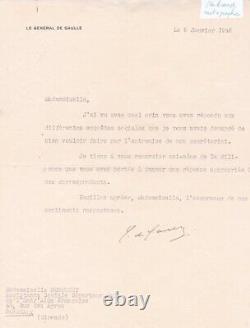 5 Lettres tapuscrite signée Général Charles de Gaulle dédicace signed prix unité