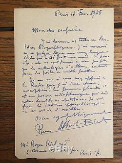 ALBERT-BIROT (Pierre). Deux lettres autographes signées, datées
