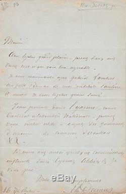 ALEXANDRE DUMAS Lettre autographe signée à propos de son roman Pauline