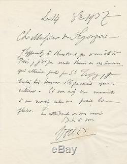 AMBROISE VOLLARD lettre autographe signée Souvenir d'un marchand de tableaux