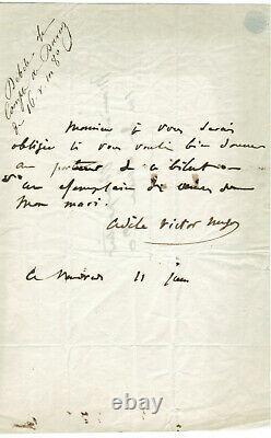 Adèle Victor HUGO (epouse) / Lettre autographe signée à Charpentier 11 Juin 1852