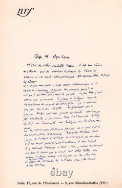Albert CAMUS Lettre autographe signée sur la littérature française