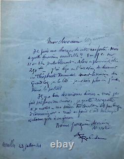 Albert ROBIDA Lettre autographe signée à Octave Uzanne / Théophraste Renaudot