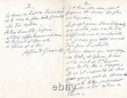 Alberto GIACOMETTI Lettre autographe signée à André BRETON Surréalisme 1959