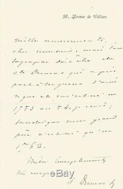 Alexandre DUMAS Fils / Lettre autographe signée à propos de ses aïeux