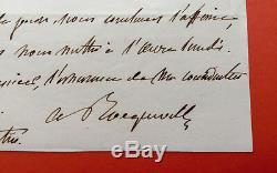Alexis de TOCQUEVILLE Lettre autographe signée