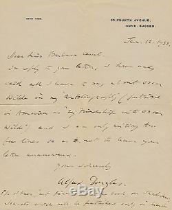 Alfred DOUGLAS Lettre autographe signée au sujet d' Oscar WILDE