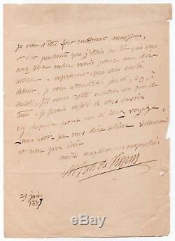 Alfred de VIGNY Lettre autographe signée 25 juin 1837 1 page in-8