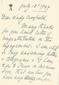 Alice de BATTENBERG Lettre autographe signée sur Elizabeth II et Philip. 1947