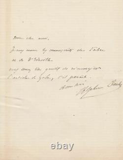Alphonse DAUDET Lettre autographe signée Emile ZOLA