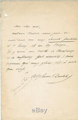 Alphonse Daudet Lettre autographe signée a Ernest d'Hardevilly