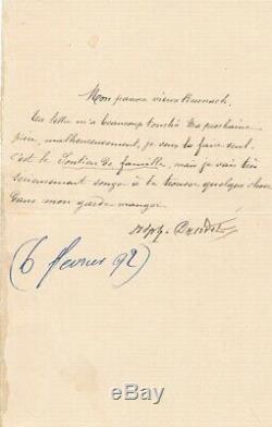 Alphonse Daudet aide William Busnach lettre signée romancier littérature