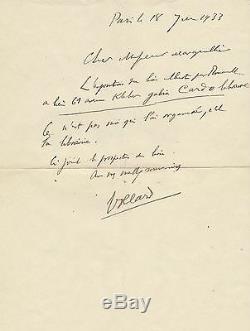 Ambroise VOLLARD Lettre autographe signée au sujet d'une expo Georges ROUAULT
