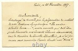 Amédée REUCHSEL lettre autographe signée Belle lettre sur interprétation L'Hiver