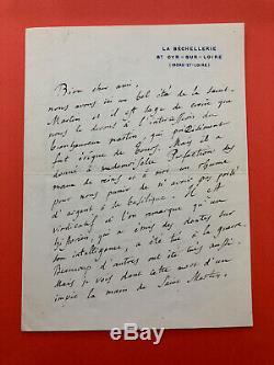 Anatole FRANCE Lettre autographe signée à Jules Couët
