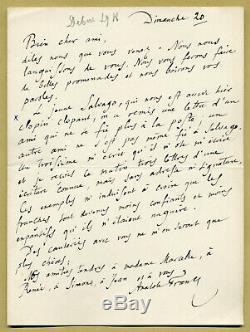 Anatole France (1844-1924) Jolie lettre autographe signée en 1918 Prix Nobel
