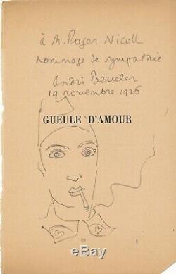 André BEUCLER envoi autographe signé avec dessin Gueule d'Amour film