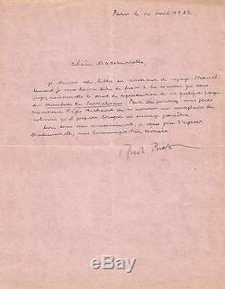 André BRETON Lettre autographe signée. Reproduction du Manifeste du Surréalisme