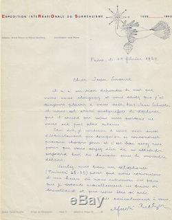 André BRETON Lettre autographe signée à propos de M. DUCHAMP. Surréalisme 1960