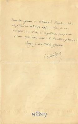 André GIDE / Lettre autographe signée / Gide sans inspiration littéraire