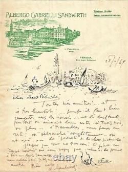 André HAMBOURG Lettre autographe signée avec deux dessins originaux. Venise
