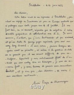André Pieyre DE MANDIARGUES Lettre autographe signée
