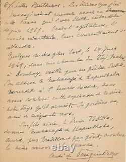 André de FOUQUIÈRES manuscrit autographe signé Inde Kapurthala et lettre