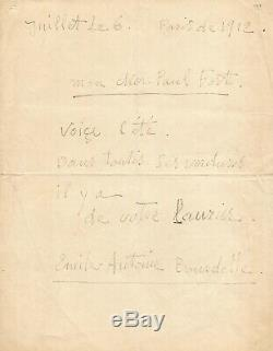Antoine BOURDELLE Lettre autographe signée à Paul FORT