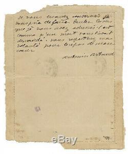 Antonin ARTAUD / Lettre autographe signée (1918) Je vous prie de faire brûler