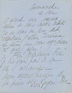 Arletty lettre autographe signée pièce Feu Madame Pic Charles Lugné-Poe